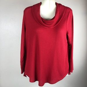 Style & Co Waffle Knit Cowl Neck Top